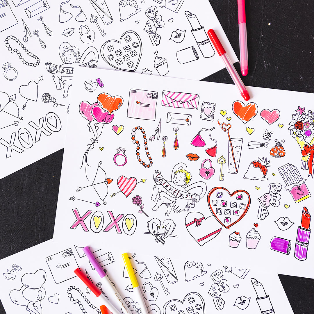 Valentine's Day Coloring Placemat, PDF Printable