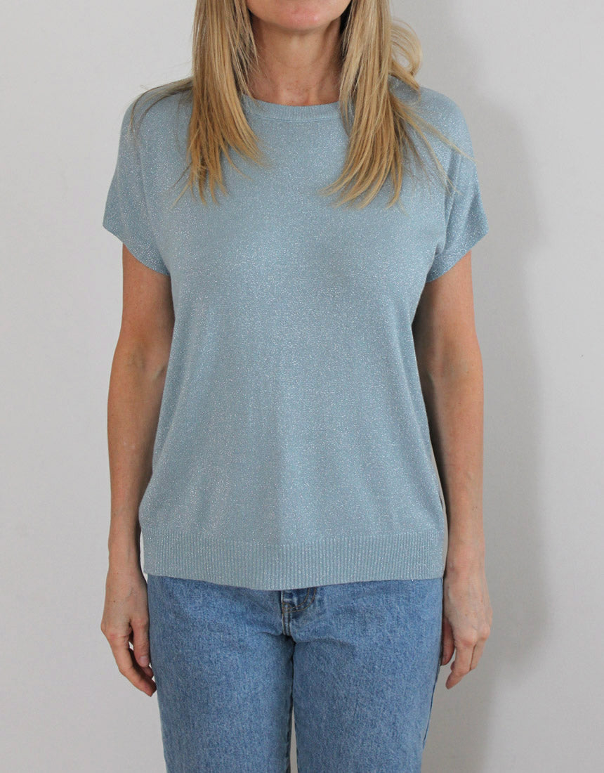 Frankie Lurex Tee - Pale Blue