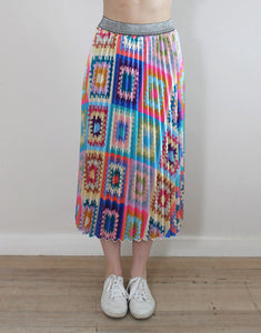 Frankies Pleated Skirt - Patchwork
