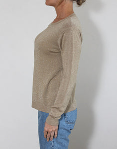 Frankie Long Sleeve Lurex Top - Coffee