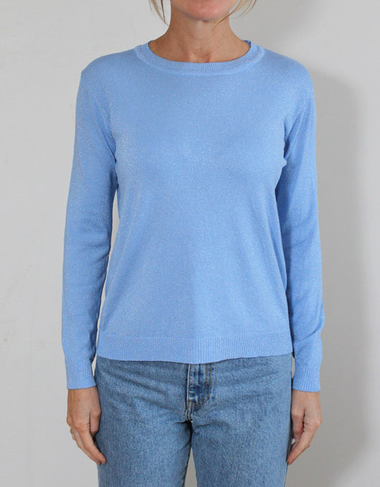 Frankie Long Sleeve Lurex Top - Blue