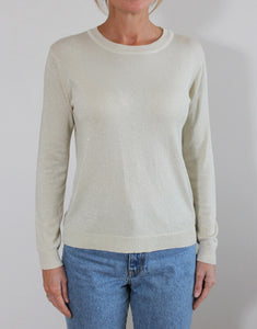 Frankie Long Sleeve Lurex Top - Champagne