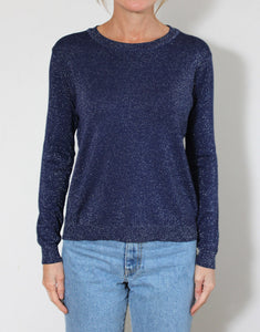 Frankie Long Sleeve Lurex Top - Navy