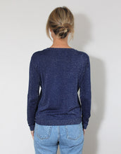 Load image into Gallery viewer, Frankie Long Sleeve Lurex Top - Navy