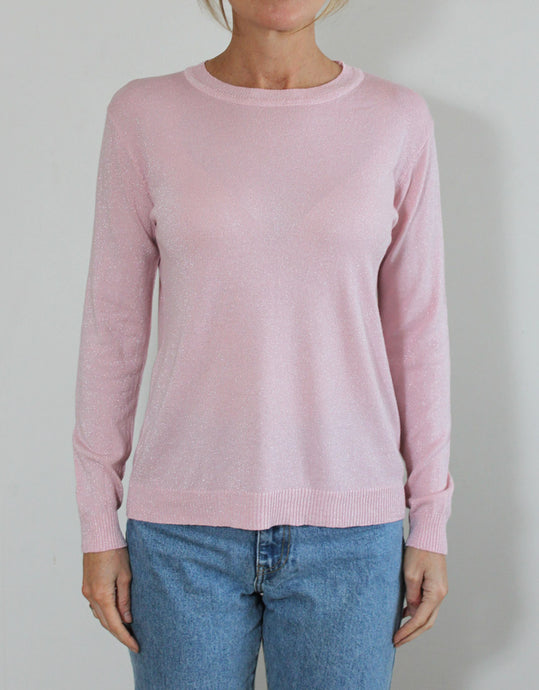 Frankie Long Sleeve Lurex Top - Pink