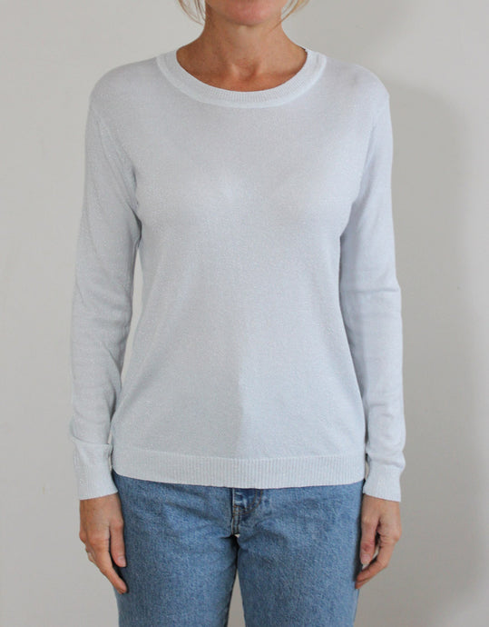 Frankie Long Sleeve Lurex Top - White/Silver