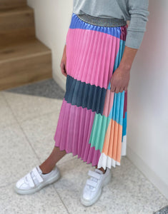 Frankies Pleated Block Patchwork Skirt