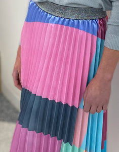 Frankie Pleated Block Patchwork Skirt