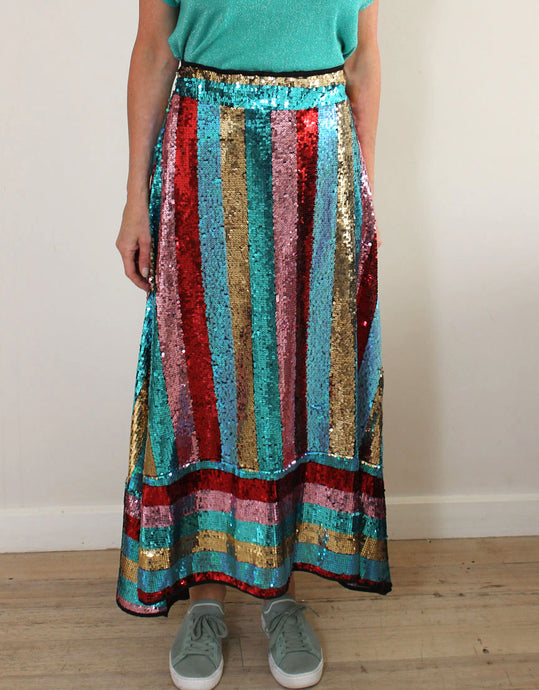 Frankies Carlotta Sequin Skirt - Red/Turquoise