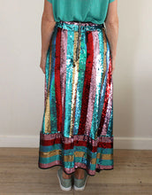 Load image into Gallery viewer, Frankies Carlotta Sequin Skirt - Red/Turquoise