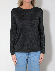 Frankie Long Sleeve Lurex Top - Black