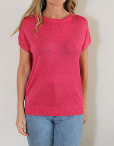 Frankie Lurex Tee - Hot Pink