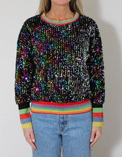 Load image into Gallery viewer, Frankie Sequinned Top - Black with Multi-Striped Bands