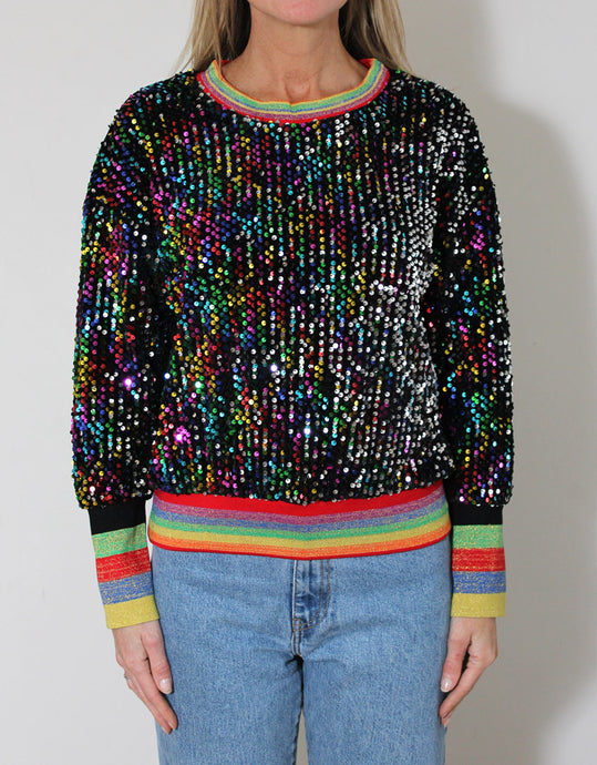 Frankie Sequinned Top - Black with Multi-Striped Bands