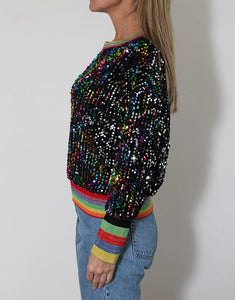 Frankies Sequinned Top - Black with Multi-Striped Bands