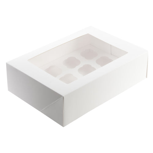 White Cupcake Box - 12 Hole