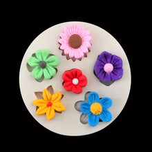 Silicone Mould - 6 x Assorted Flowers