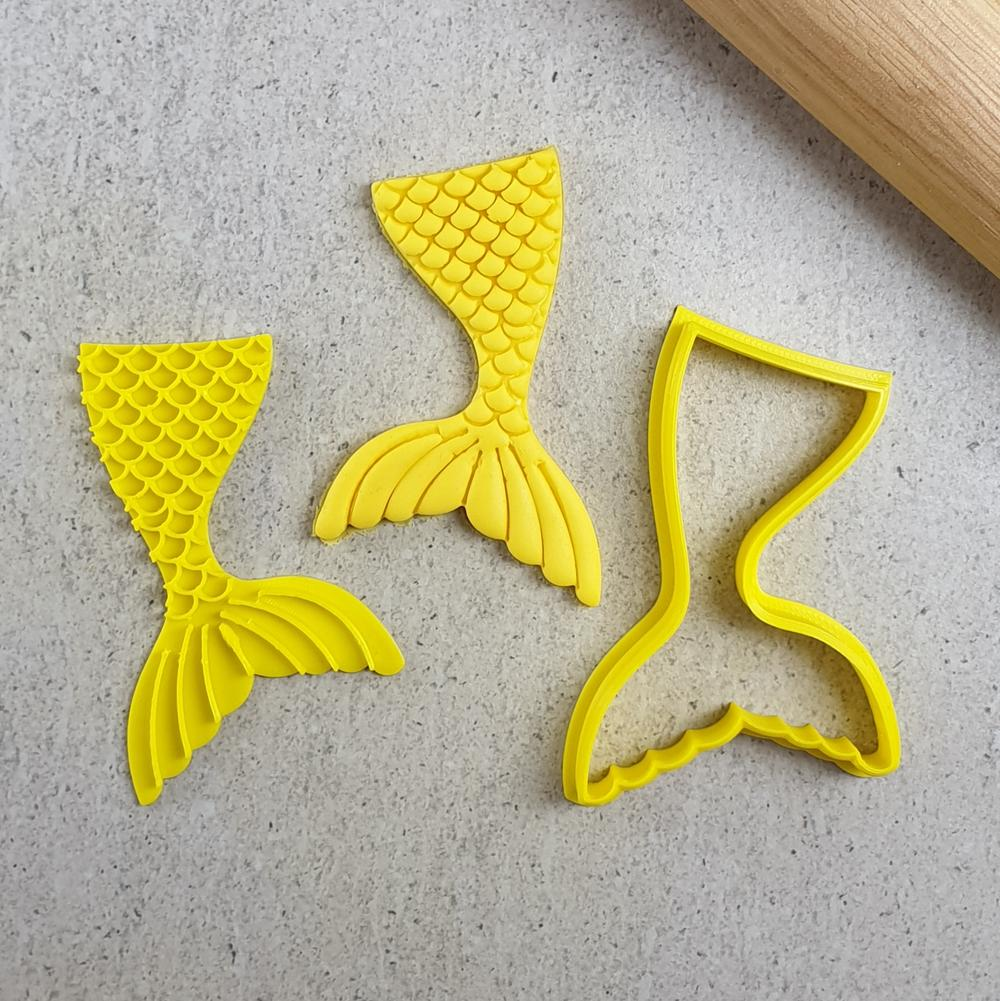 Custom Cookie Cutters 3D Embosser and Cutter Set - Mermaid Tail