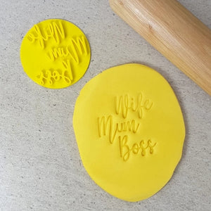 Custom Cookie Cutters Embosser - Wife, Mum, Boss