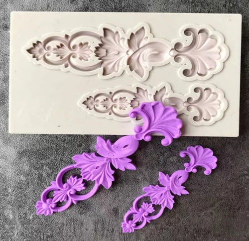 Silicone Mould - 2PC Decorative Flower Swirl