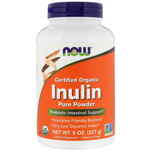 227g / 8OZ Now Foods Certified Organic Inulin - Prebiotic Pure Powder