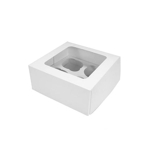 White Cupcake Box - 4 Hole