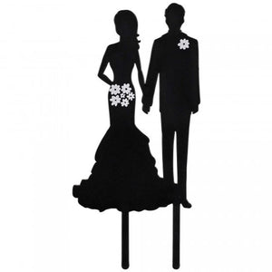 Silhouette Bride and Groom Wedding Topper