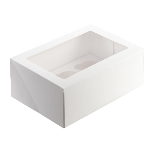 White Cupcake Box - 6 Hole