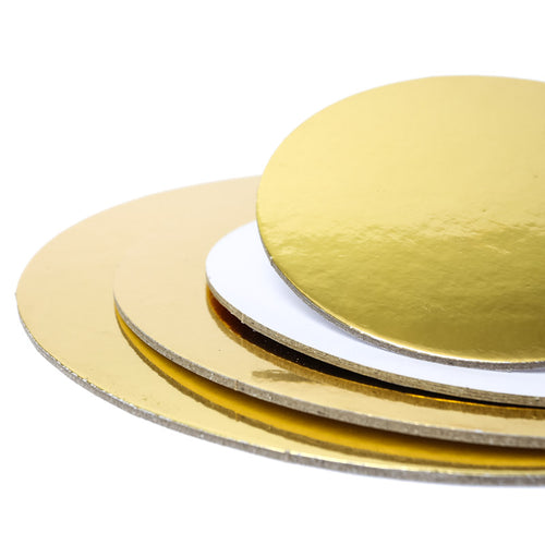 10 inch (25cm) Round 3mm Card Cake Board - Gold