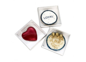 "Loyal white / clear Lid Biscuit Box - 3.5"" (9cm) x 3.5"" (9cm) x 0.75"" (2cm)"