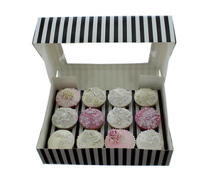 Striped Black/White Cupcake Box - 12 Hole