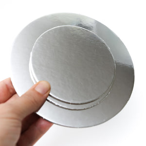 3 inch (7.5cm) Round 3mm Card Cake Board - Silver