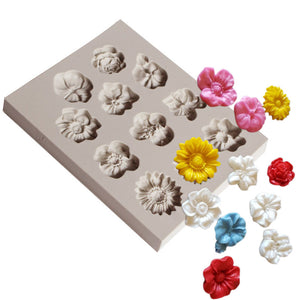 Silicone Mould - 11 x Asstd Flowers