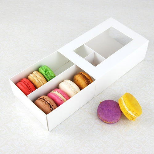 12 Macaron Box - with slide cover and clear window