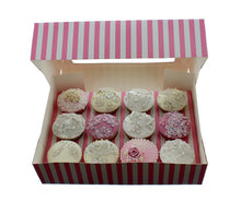 Striped Pink/White Cupcake Box - 12 Hole