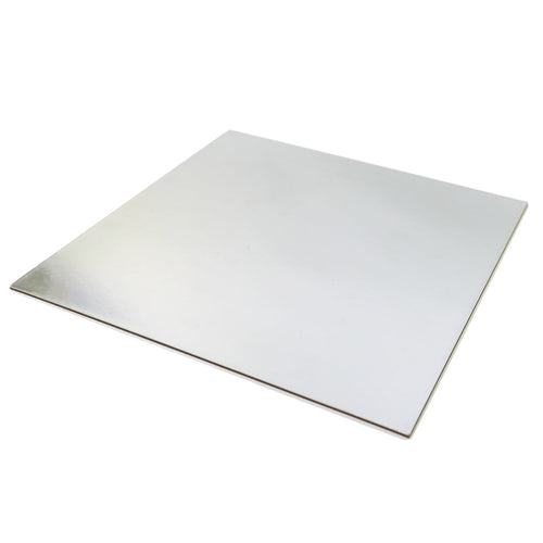 4 inch (10cm) Square 3mm Card Cake Board - Silver