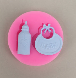 Silicone Mould - Baby Bib and Bottle