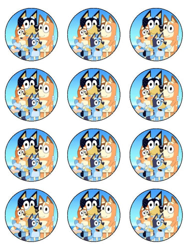 Edible Cupcake Toppers - Bluey Family