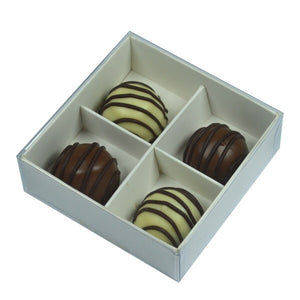 White / Clear Lid Chocolate Box - 8cm x 8cm x 3cm