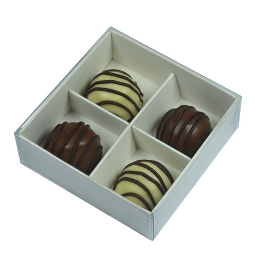 10PK White / Clear Lid Chocolate Box - 8cm x 8cm x 3cm