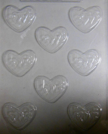 Chocolate Mould - Love Hearts with word
