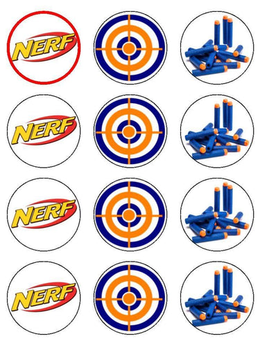 Edible Cupcake Toppers - Nerf