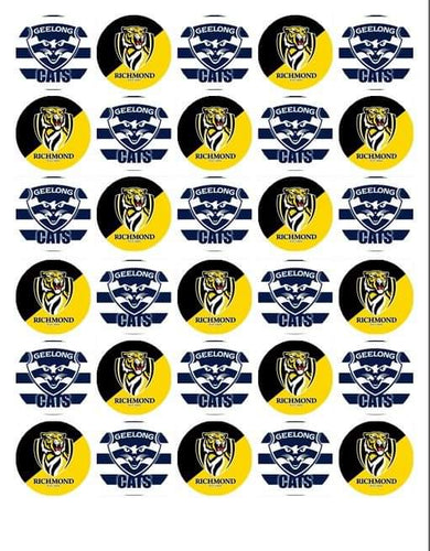 Edible Mini Cupcake Toppers - Grand Final 2020 - Geelong Cats and Richmond Tigers