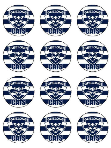 Edible Cupcake Toppers - Geelong Cats