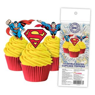 16 Edible Wafer Cupcake  - Superman