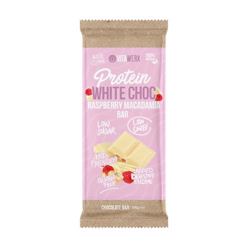 100g Vitawerx Chocolate Bar - White Chocolate, Raspberry and Macadamia