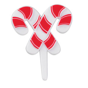 Candy Cane Cupcake Decorations - 10pk