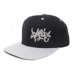 The Black/Gray Tag Logo Snapback Hat - concreteaddicts