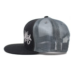 The Black/Charcoal Mesh Tag Snapback Hat - concreteaddicts