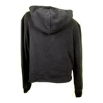Tag Logo Black Womens Cropped Fleece Hoodie - concreteaddicts
